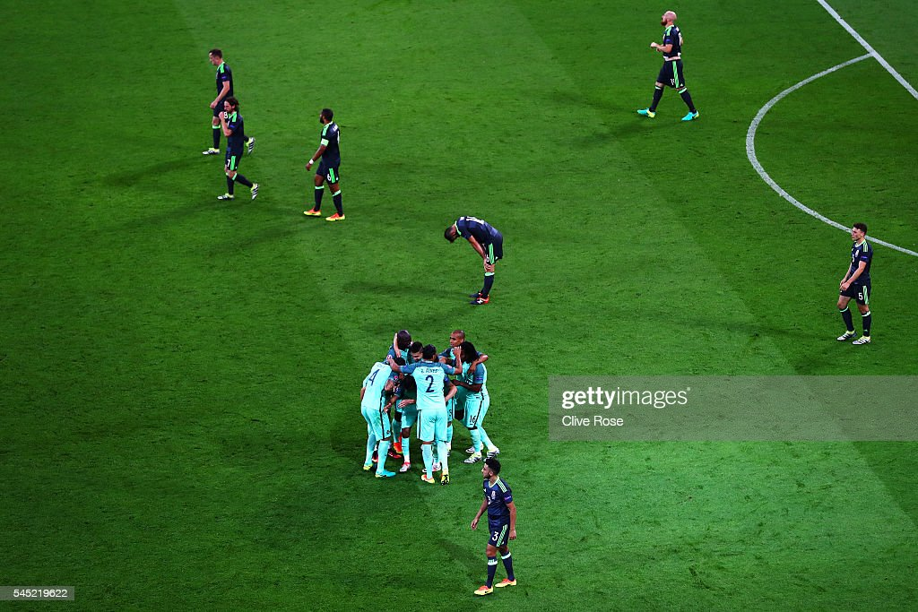 Portugal players celebrate their team's second goal scored by Nani during the UEFA EURO 2016 semi final match between Portugal and Wales at Stade des...