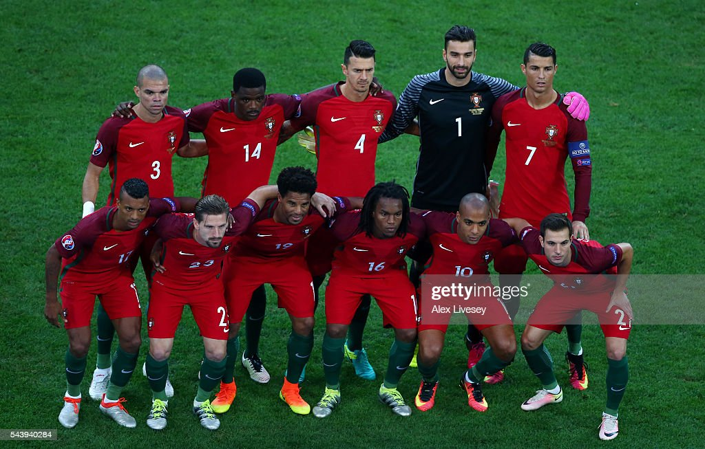 Portugal players line up for the team photos prior to the UEFA EURO 2016 quarter final match between Poland and Portugal at Stade Velodrome on June 30, 2016 in Marseille, France.