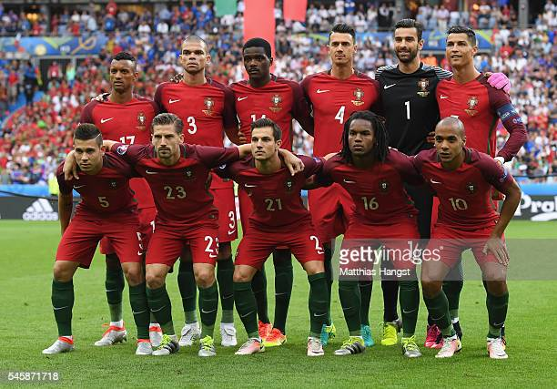 Portugal players line up for the team photos prior to the UEFA EURO 2016 Final match between Portugal and France at Stade de France on July 10 2016...