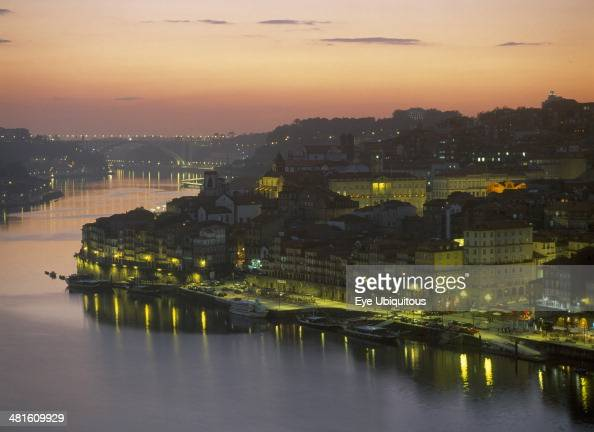 Portugal Porto City and the Douro River at sunset