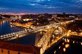 Portugal, Porto, View of Dom Luis I bridge