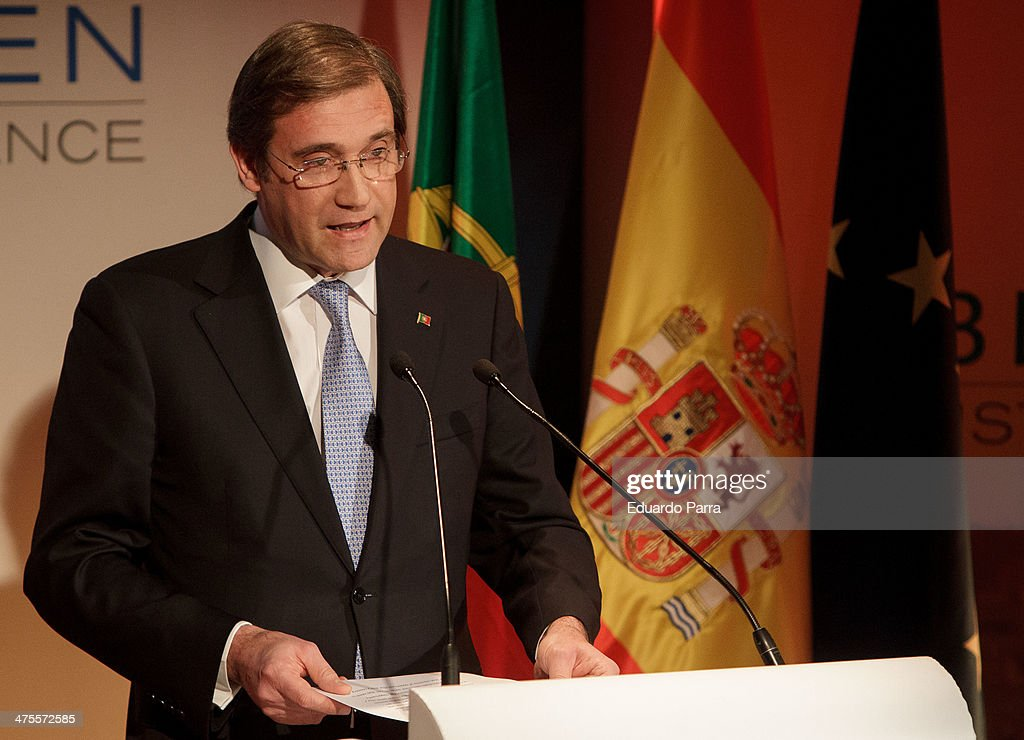 Portugal Prime Minister Pedro Manuel Mamede Passos Coelho attends 'Proyecto Europa' press conference at Casa de America on February 28, 2014 in Madrid, Spain. The forum participants discussed the future of Europe and youth unemployment problem.