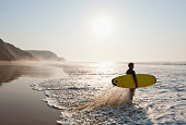 Portugal, Surfer on beach
