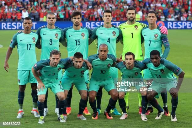 Portugal Team Group Portugal's Nani Pepe Andre Gomes Jose Fonte Rui Patricio and Cristiano Ronaldo Portugal's Adrien Silva Raphael Guerreiro Joao...