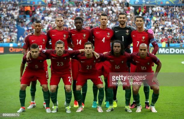 Portugal team group shot Top Row Luis Nani Kleper Pepe Silva William Carvalho Jose Fonte goalkeeper Pedro Rui Patricio and Cristiano Ronaldo Bottom...