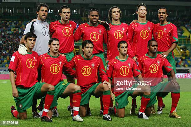 Portugal team line up prior to the World Cup Group 3 match between Portugal and Russia on October 13 2004 at the Estadio Jose Alvalade Lisbon...