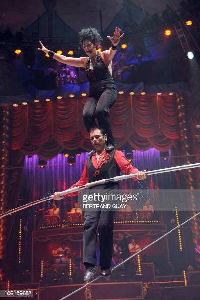 Portugal's aerialists 'Duo Guerrero' perform during the 'Prestige' Bouglione circus show at the Cirque d'Hiver in Paris on October 26 2010 AFP PHOTO...