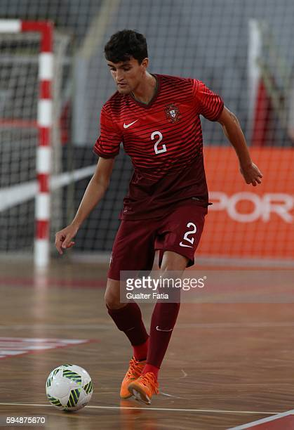 PortugalÕs Andre Coelho in action during the Futsal International Friendly match between Portugal and Morocco at Pavilhao Fidelidade on August 24...