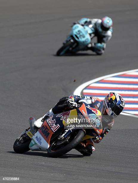 Portugal's biker Miguel Oliveira rides his KTM during the Moto3 qualifying to get the pole position of the Argentina Grand Prix at Termas de Rio...