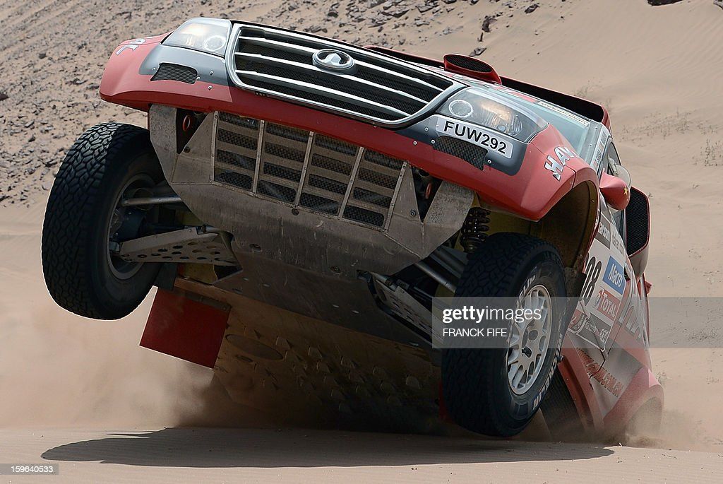 Portugal's Carlos Souza competes on his Great Wall during the Stage 12 of the Dakar 2013 between Fiambala, Argentina and Copiapo, Chile, on January 17, 2013. The rally takes place in Peru, Argentina and Chile between January 5 and 20.