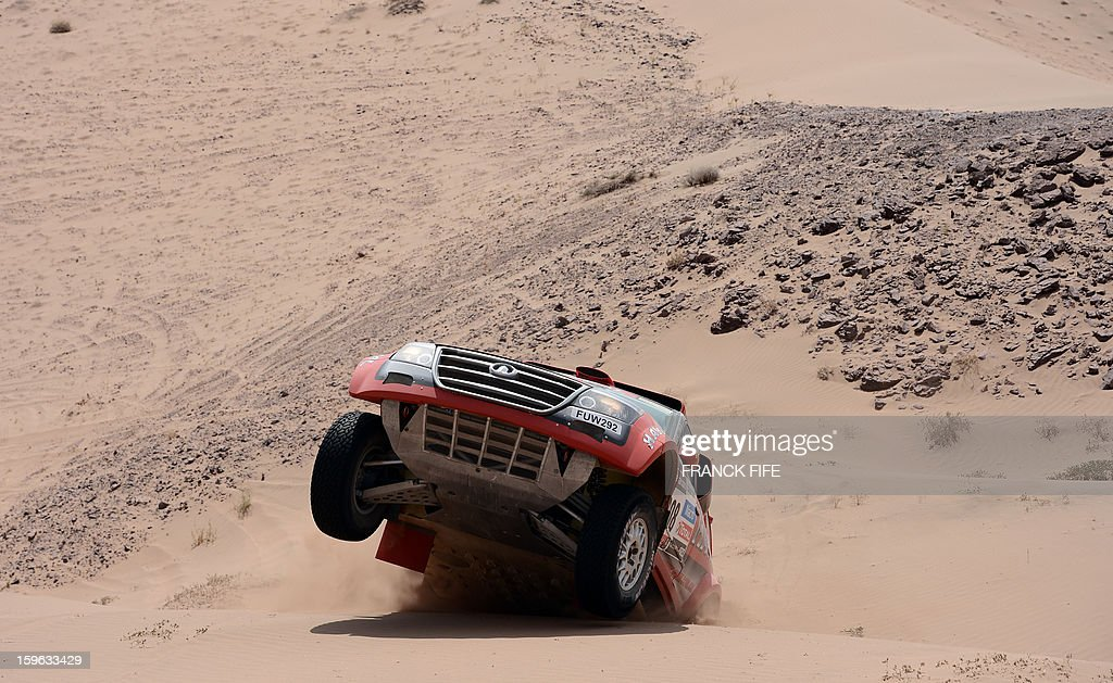 Portugal's Carlos Souza steers Great Wall during the Stage 12 of the 2013 Dakar Rally between Fiambala in Argentina and Copiapo in Chile, on January 17, 2013. The rally is taking place in Peru, Argentina and Chile from January 5 to 20.