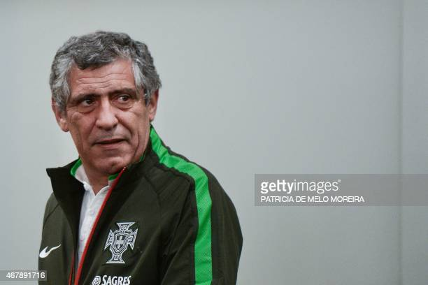 Portugal's coach Fernando Santos arrives for a press conference at Luz stadium in Lisbon on March 28 on the eve of the EURO 2016 qualifier football...