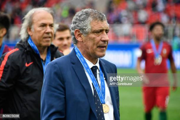 Portugal's coach Fernando Santos reacts at the end of the 2017 FIFA Confederations Cup third place football match between Portugal and Mexico at the...