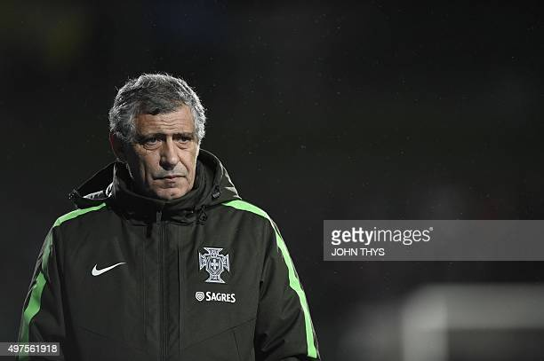 Portugal's coach Fernando Santos reacts during the Euro 2016 friendly football match between Luxembourg and Portugal at the Josy Barthel Stadium on...