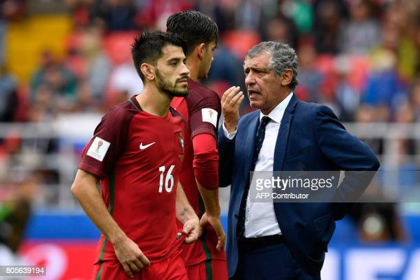 Portugal's coach Fernando Santos speaks to Portugal's forward Andre Silva and Portugal's midfielder Pizzi during the 2017 FIFA Confederations Cup...