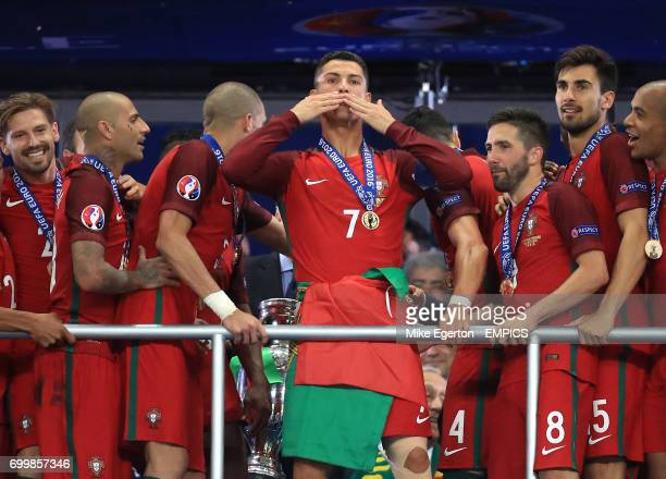 Portugal's Cristiano Ronaldo celebrates his the stands after the game