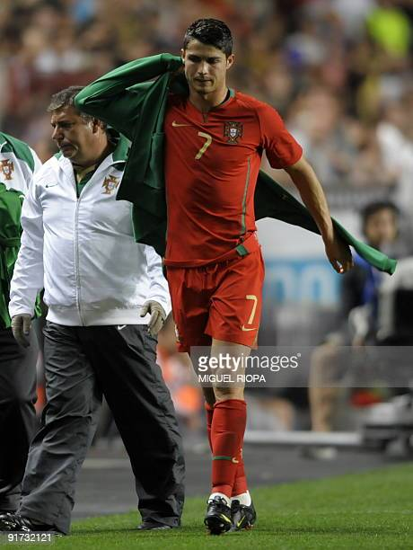 Portugal's Cristiano Ronaldo goes to the bench during their World CUp 2010 qualifying football match against Hungary at Luz Stadium in Lisbon on...