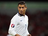 Portugal's Cristiano Ronaldo reacts during the Euro 2016 qualifying football match between Albania and Portugal at the Elbasan Arena in Elbasan on...