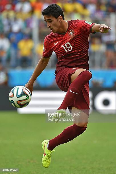 Portugal's defender Andre Almeida plays the ball during the Group G football match between Germany and Portugal at the Fonte Nova Arena in Salvador...