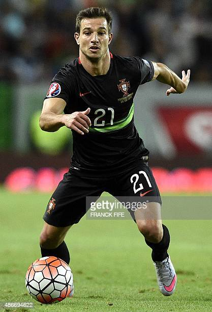 Portugal's defender Cedric controls the ball during the Euro 2016 friendly football match Portugal vs France at the Jose Alvalade stadium in Lisbon...