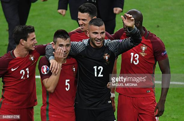 Portugal's defender Cedric Soares Portugal's defender Raphael Guerreiro Portugal's defender Fonte Portugal's goalkeeper Anthony Lopes and Portugal's...