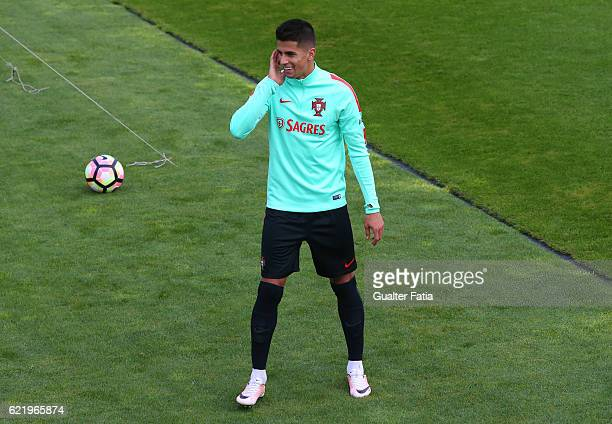 Portugal's defender Joao Cancelo during Portugal's National Team Training session before the 2018 FIFA World Cup Qualifiers matches against Latvia at...