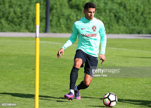 Portugal's defender Joao Cancelo in action during Portugal's National Team Training session before the 2018 FIFA World Cup Qualifiers match against...