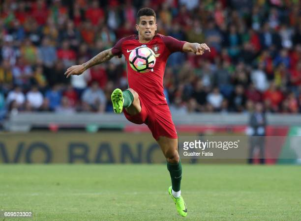 Portugal's defender Joao Cancelo in action during the International Friendly match between Portugal and Sweden at Estadio dos Barreiros on March 28...