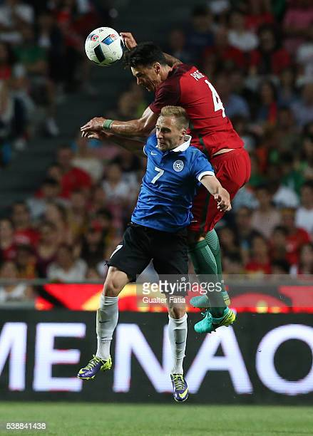 Portugal's defender Jose Fonte with Estonia's midfielder Sander Puri in action during the International Friendly match between Portugal and Estonia...