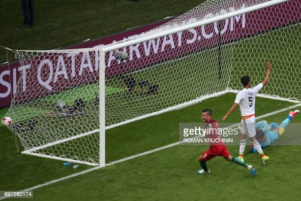 TOPSHOT Portugal's defender Pepe celebrates before the goal was ruled off side follwoing video assistance during the 2017 Confederations Cup group A...