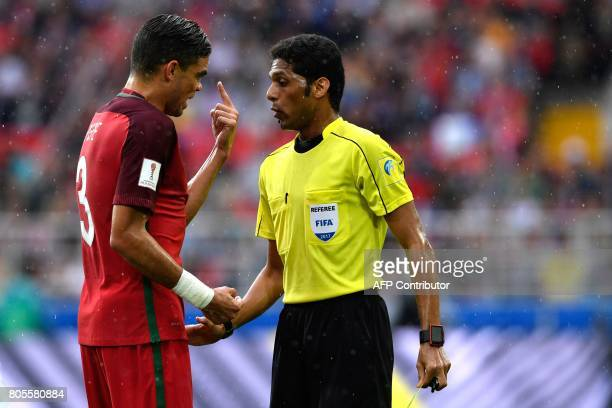 TOPSHOT Portugal's defender Pepe gestures at Saudi referee Fahad Al Mirdasi during the 2017 FIFA Confederations Cup third place football match...