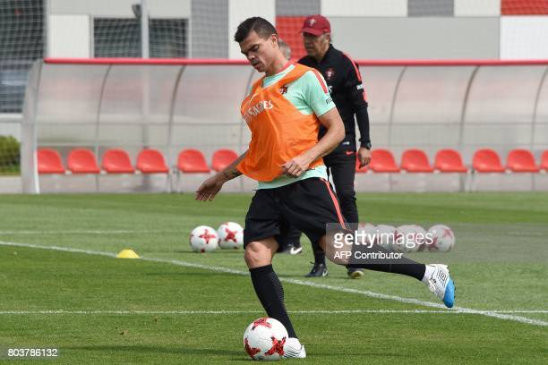 Portugal's defender Pepe takes part in a training session in Moscow on June 30 2017 ahead of the 2017 FIFA Confederations Cup third place football...