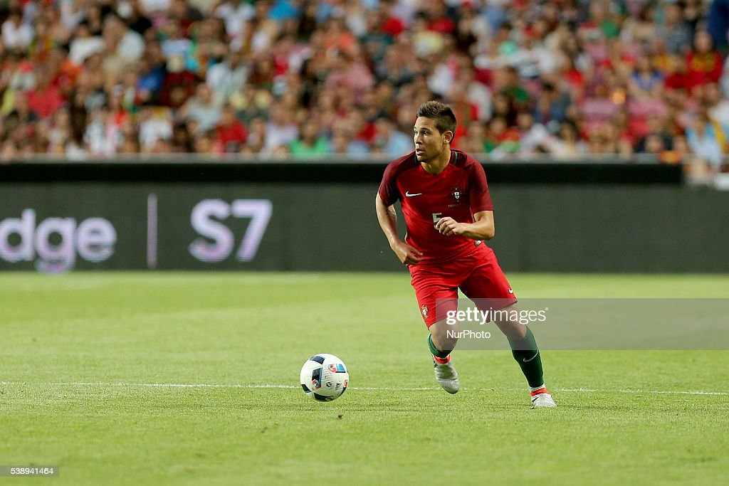 Portugals defender Raphael Guerreiro in action during international friendly match between Portugal and Estonia in preparation for the Euro 2016 at...