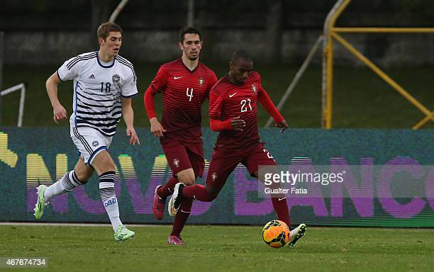 Portugal's defender Ricardo Pereira with Denmark's forward Emil Berggreen during the U21 International Friendly between Portugal and Denmark on March...