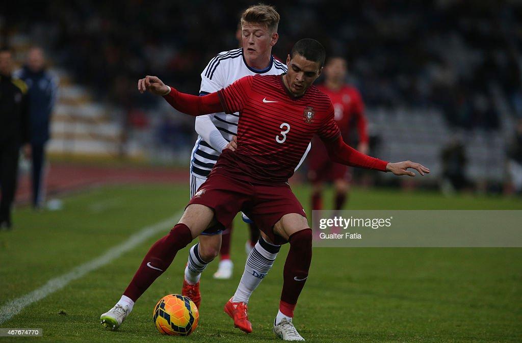 Portugal's defender Tiago Ilori with Denmark's midfielder Nicolaj Thomsen during the U21 International Friendly between Portugal and Denmark on March 26, 2015 in Marinha Grande, Portugal.