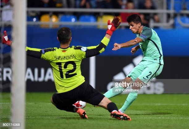 Portugal's defender Tobias Figueiredo misses an opportunity to score a goal during the UEFA U21 European Championship Group B football match FYR...