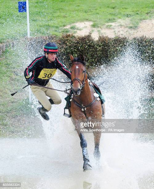 Portugal's Duarte Seabra riding Fernhill Gloster Rebel is unseated at the water jump during the Cross Country Course at the Bramham International...
