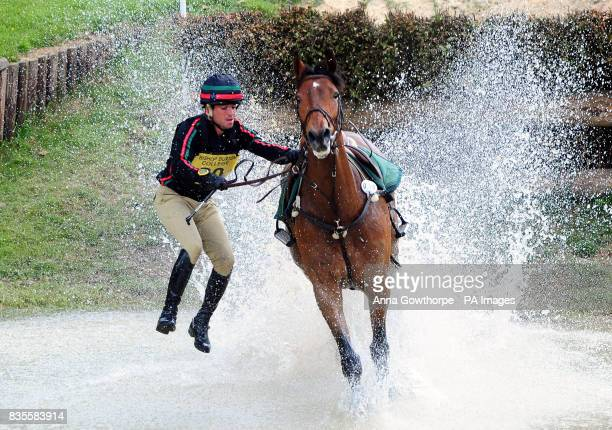 Portugal's Duarte Seabra riding Fernhill Gloster Rebel is unseated at the water jump during the Bramham International Horse Trials at Bramham Park...