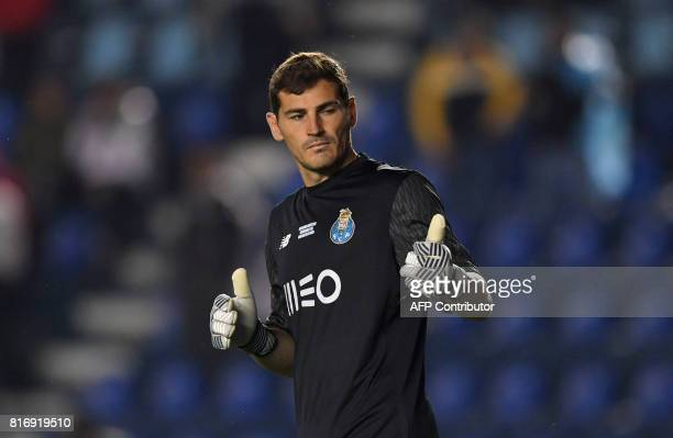 Portugal's FC Porto goalkeeper Iker Casillas gestures during a 'Super Copa Tecate' tournament preseason football match against Mexico's Cruz Azul at...