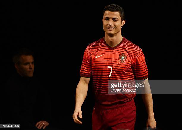 Portugal's football team forward Cristiano Ronaldo arrives to an interview during the presentation of new Nike football boots in Madrid on April 25...