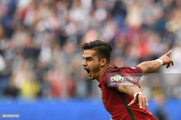 Portugal's forward Andre Silva celebrates after scoring a goal during the 2017 Confederations Cup group A football match between New Zealand and...