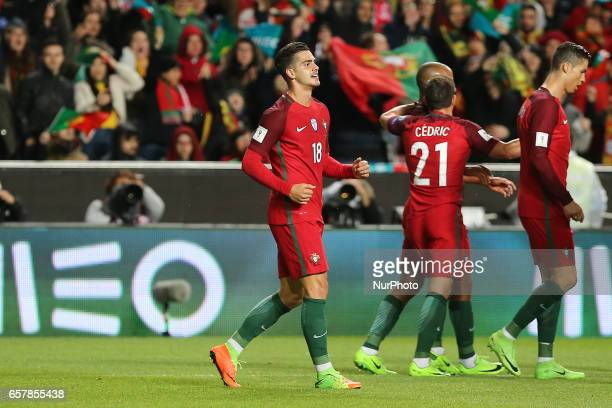 Portugals forward Andre Silva celebrating after scoring a goal during Portugal v Hungary FIFA 2018 World Cup Qualifier at Estadio da Luz on March 25...