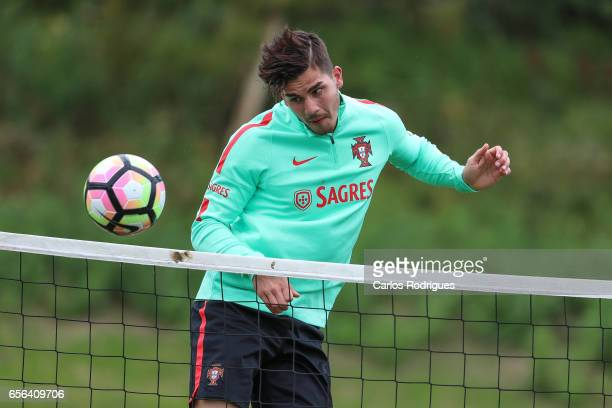 Portugal's forward Andre Silva during a Portugal training session at Cidade do Futebol on March 22 2017 in Lisbon Portugal