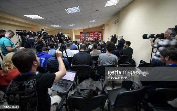 Portugal's forward Andre Silva gives a press conference in Kazan on June 16 2017 ahead of the Russia 2017 Confederation Cup football tournament / AFP...