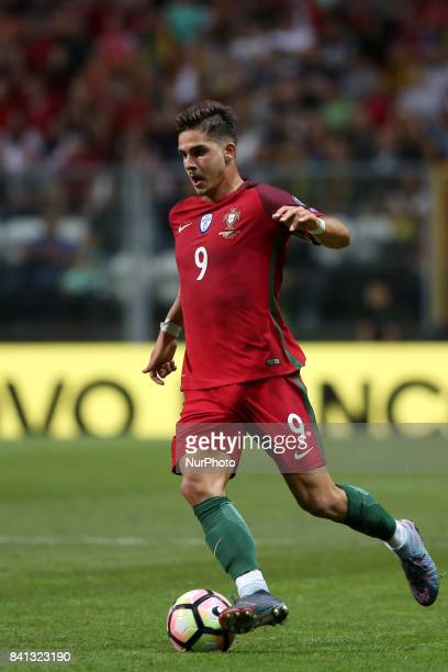 Portugal's forward Andre Silva in action during the 2018 FIFA World Cup qualifying football match between Portugal and Faroe Islands at the Bessa XXI...