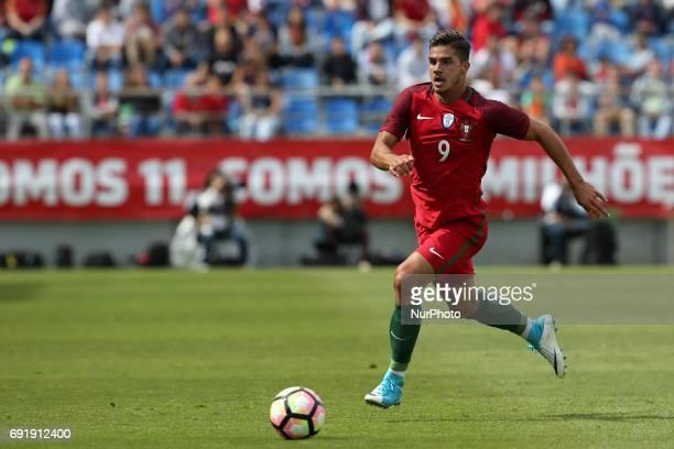 Portugal's forward Andre Silva in action during the friendly football match Portugal vs Cyprus at Antonio Coimbra da Mota Stadium in Estoril...