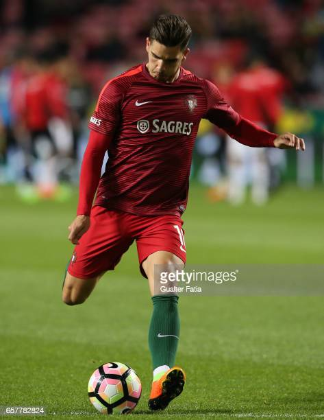 Portugal's forward Andre Silva in action during warm up before the start of the FIFA 2018 World Cup Qualifier match between Portugal and Hungary at...