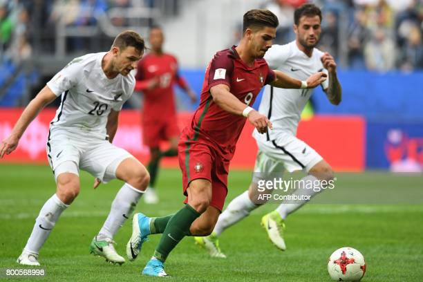 Portugal's forward Andre Silva runs to score a goal during the 2017 Confederations Cup group A football match between New Zealand and Portugal at the...