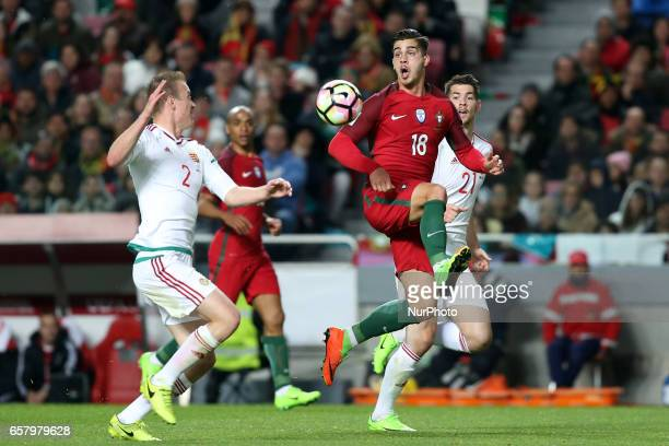 Portugal's forward Andre Silva vies with Hungary's defender Adam Lang during the FIFA World Cup Russia 2018 qualifier match Portugal vs Hungary at...