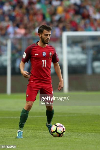 Portugal's forward Bernardo Silva in action during the 2018 FIFA World Cup qualifying football match between Portugal and Faroe Islands at the Bessa...